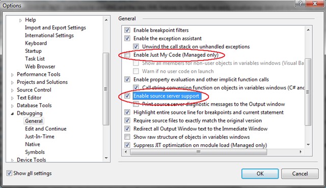 Activation de l'option permettant de déboguer le code source du .NET Framework