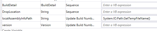 "Variables de la séquence ""Update Build Number for Triggered Builds"""
